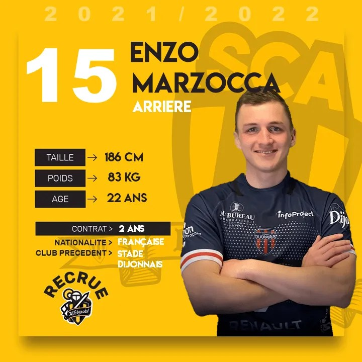Rugby-Nationale (ALBI) : Enzo MARZOCCA première recrue du SCA.