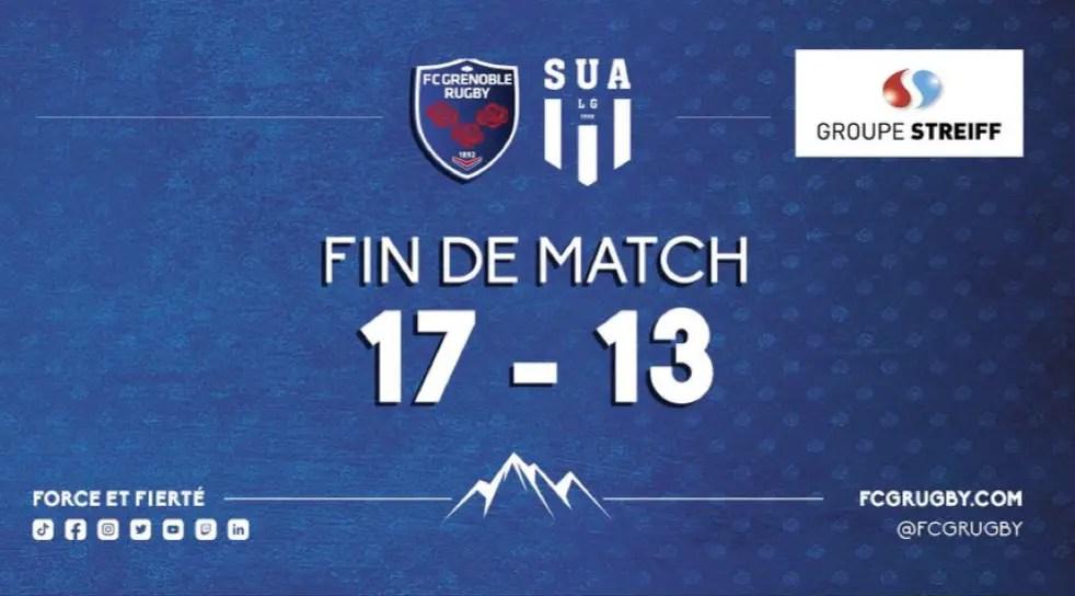 Pro D2: Grenoble s'impose difficilement contre Agen 17-13