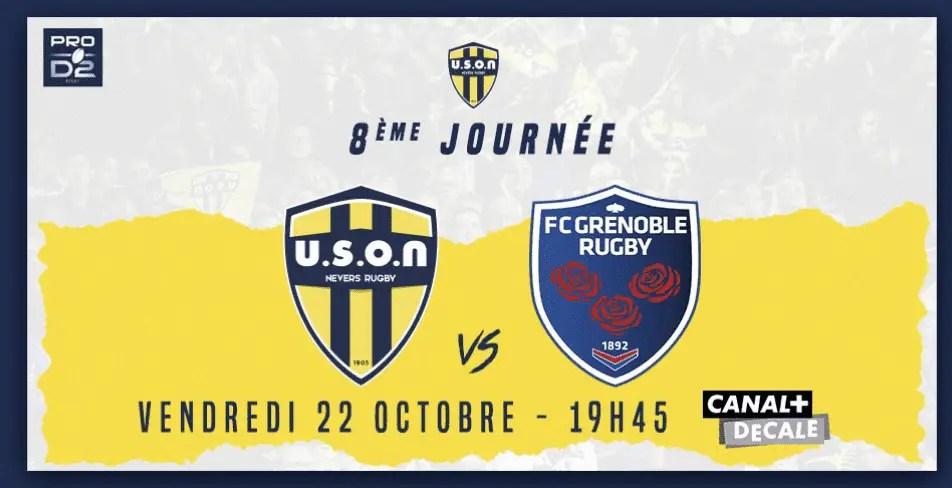 Pro D2 ( #j8) : La rencontre Nevers Grenoble décalée.