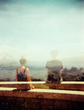 Double exposure at The Peak Hong Kong Holga