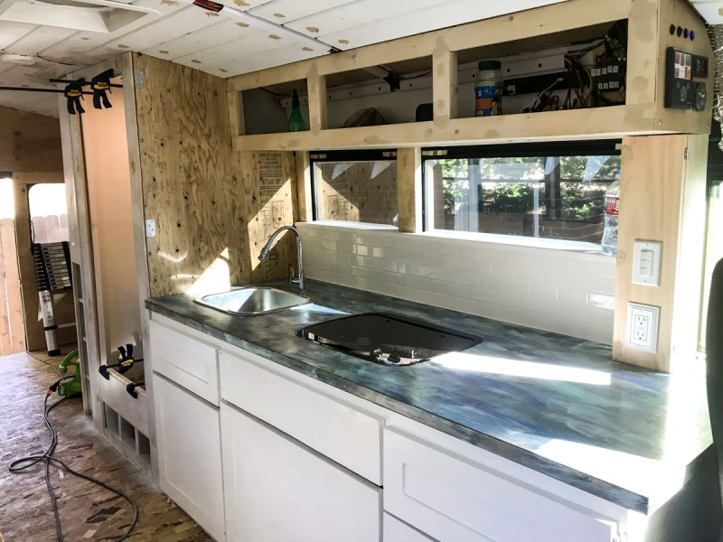 Completed Lower Half and in Progress Upper Cabinets