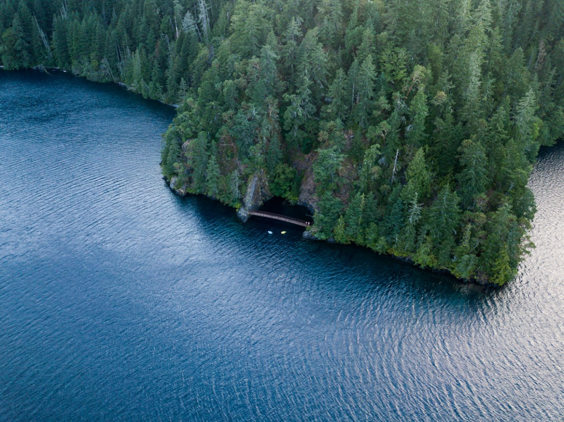 Drone view of the Devil's Punchbowl at Lake Crescent