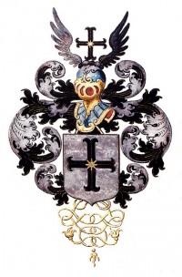 wapen van Michael van Basten, in het wapenboek der Gelders-Overijsselse studentenvereniging aan de universiteit van Leiden, 1658