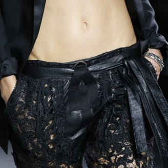 Saint Laurent Laced Pant in Black Lace and Leather $5500