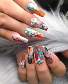Acrylic Coffin shaped nail designs