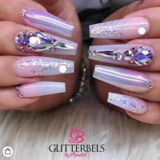 Chrome glitter coffin shape nail design