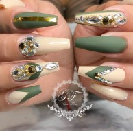 Olive green and beige nail designs