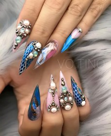 blue snake skin and pink gypsy nails