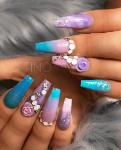 Blue pink and purple nail designs perfect for summer
