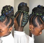 Braided updo hairstyle with color string