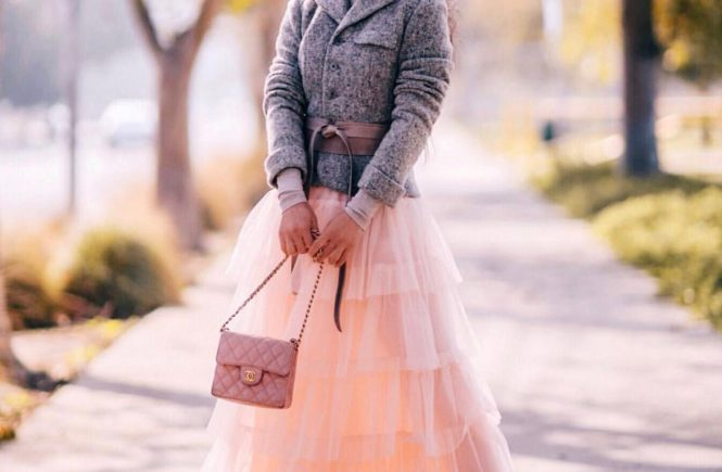 Gray Captain's Jacket Fluffy Pink Tutu Inspired Skirt