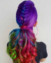 Purple rainbow ombre dyed hair