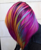 maroon hair color with rainbow highlights