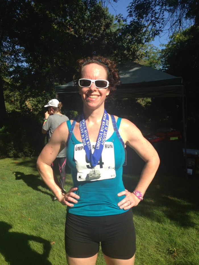 After running my first half marathon a couple of weeks before getting pregnant.
