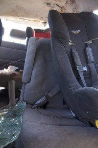 These seats were not cut or moved after this crash; this is how much the belts stretched. Credit: Anne