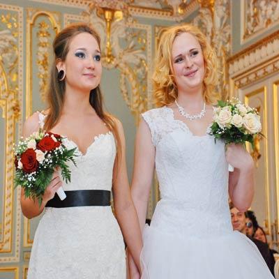 Same-sex wedding ceremony of two women
