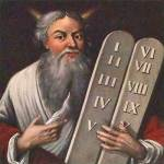 Moses holding tablets with 10 Commandments