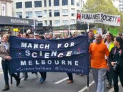 March for Science in Melbourne, Australia, on 22nd April, 2017, marching along Bourke Street Copyright 2017 Leslie Allan | Photo taken by and supplied courtesy of Leslie Allan