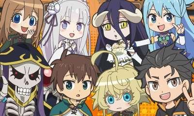 Isekai quartet: é um anime de comédia, com clima leve e muitas piadas com o elenco. Na história integrantes de vários animes isekais são transportados para um colégio em outra dimensão, onde são obrigados a interagir uns com os outros.