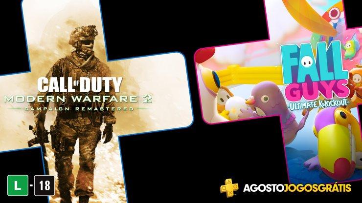 Call of Duty: Modern Warfare 2 e Fall Guys foram os jogos da PS Plus do mês de Agosto.
