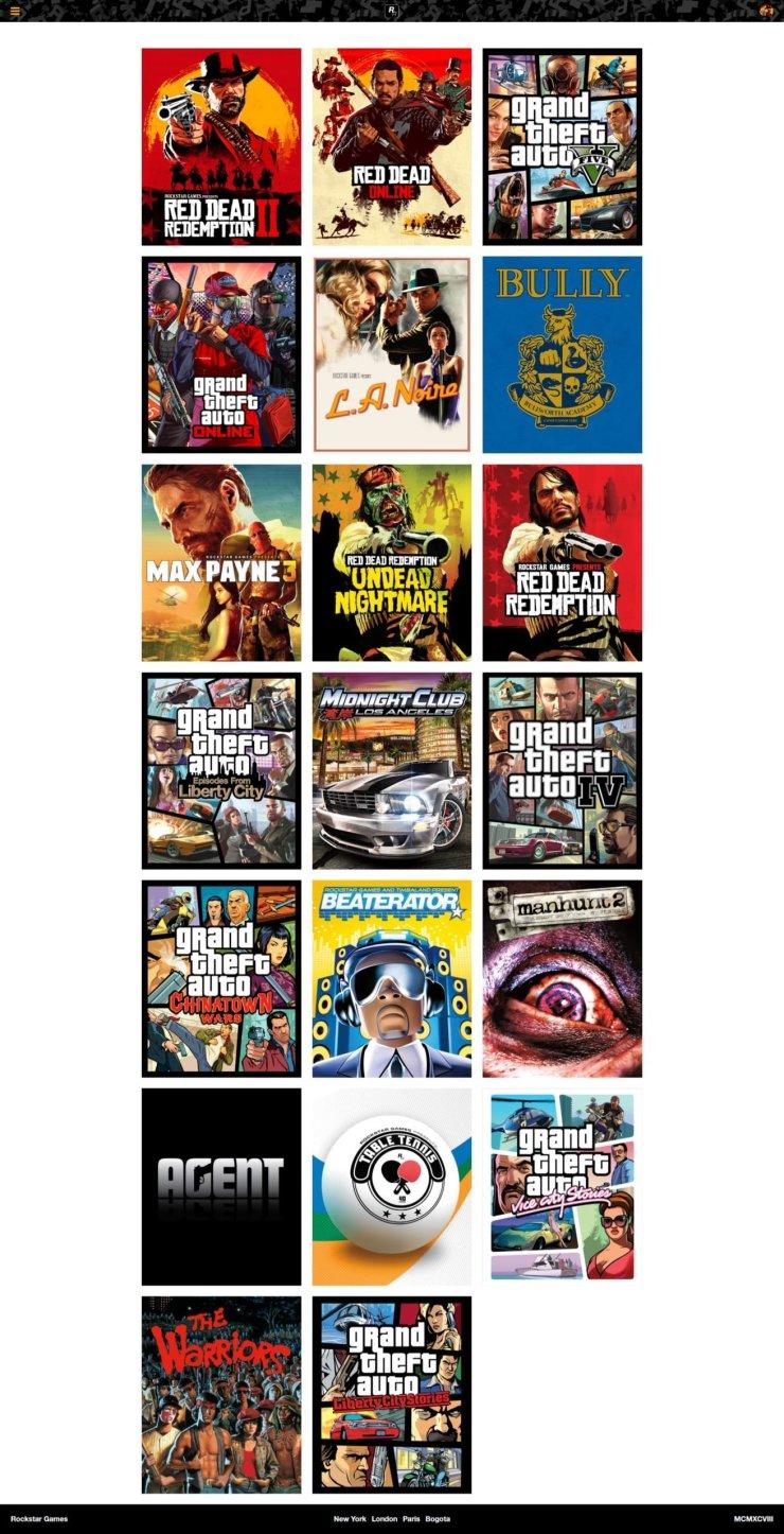 O site da Rockstar Games agora não mostra todos os seus jogos.