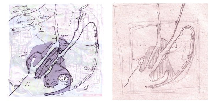 Primeiros esboços da produção do mapa de GTA 4