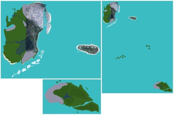 Primeiras imagens vazadas do suposto mapa de GTA 6 em 2018.