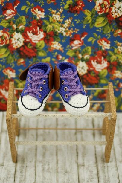 Purple Crochet Baby Sneakers