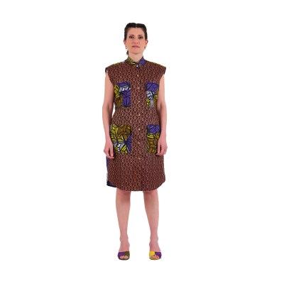 African print sleeveless shirt dress VDSCV21