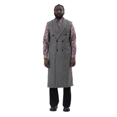 Ebo Duble-Breasted Long Vest Coat JV003