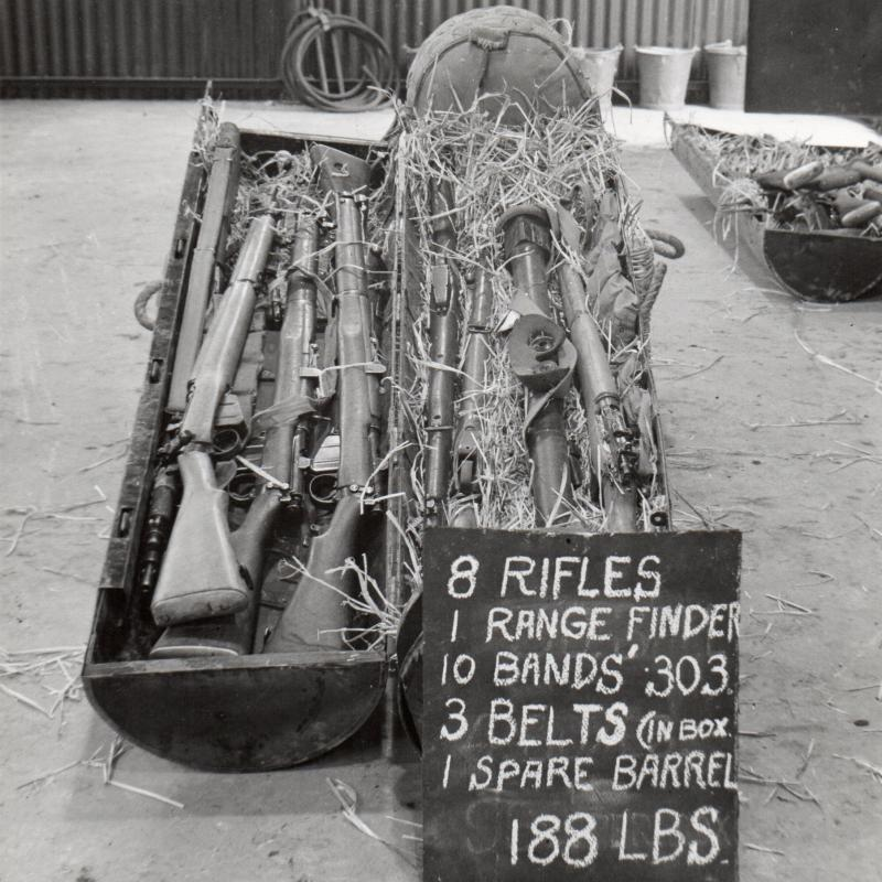 CLE CONTAINING NUMBER 4 RIFLES AND AMMUNITION, C1944
