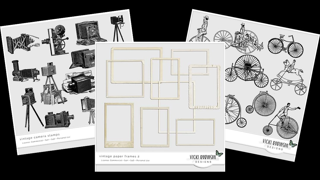 New! Vintage Paper Frames, Bicycle + Camera Stamps