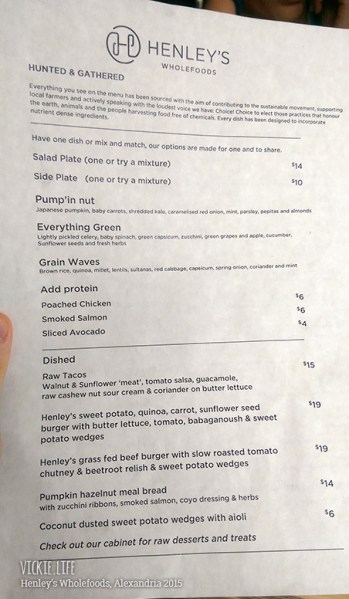 Henley's Wholefoods Alexandria: Lunch Menu (front)