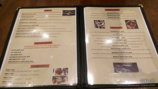 Sammy's Gymea: Menu (inside)