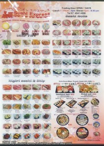 Sushi Express, Cairns: Menu
