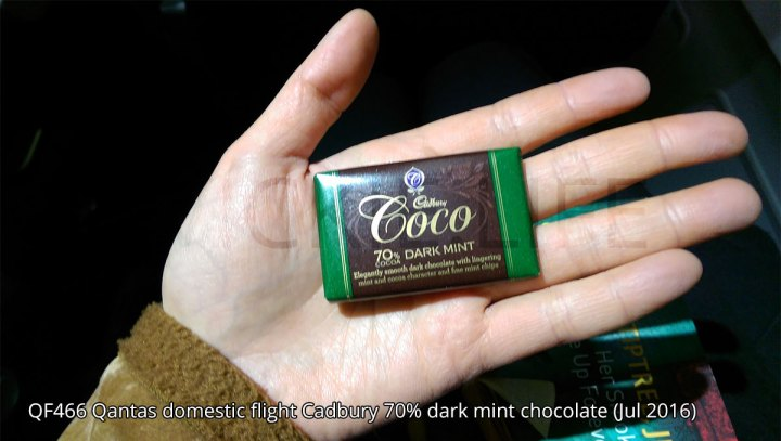 QF466 Qantas domestic flight dark chocolate