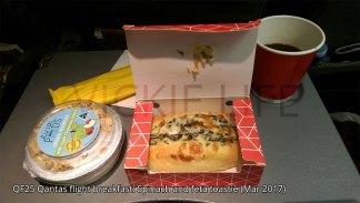 QF25 Qantas flight breakfast: Spinach and feta toastie