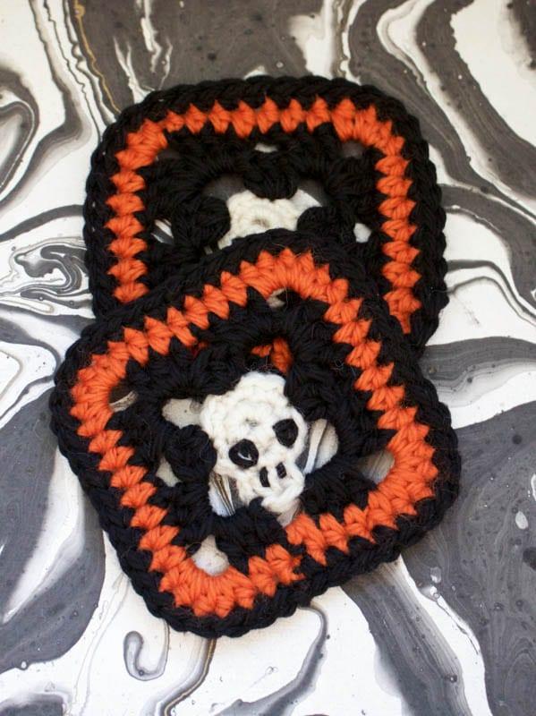 crocheted skull coasters