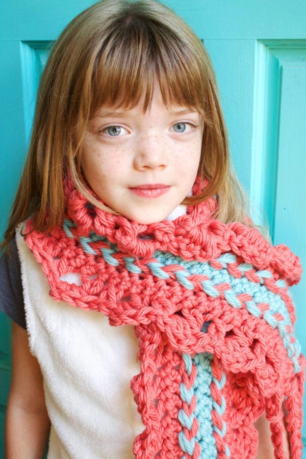 Chunky Hairpin Lace Scarf modeled