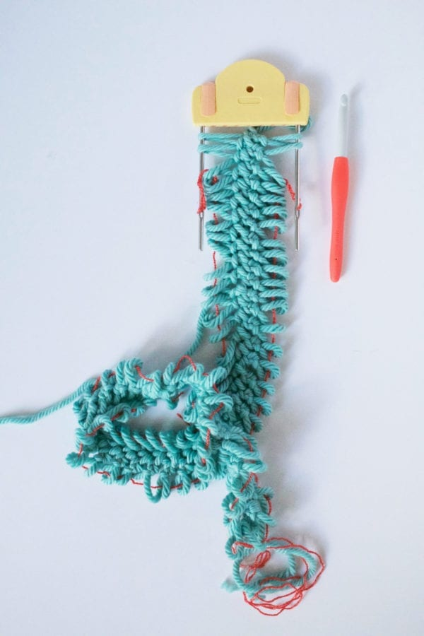 Chunky Hairpin Lace Scarf make strip