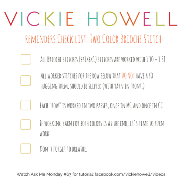 Knit Two Color Brioche Tips Checklist by @iamvickiehowell