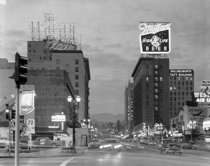 Ralph Morris, photographer. !960 view down Hollywood Blvd.
