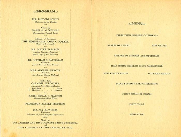banquet menu for Einstein