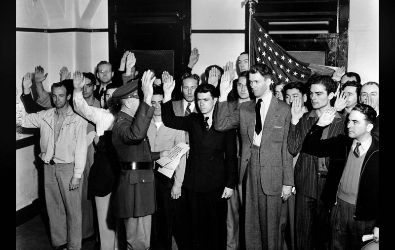 "Mar. 22, 1941: Actor James ""Jimmy"" Stewart being sworn into the U.S. Army."