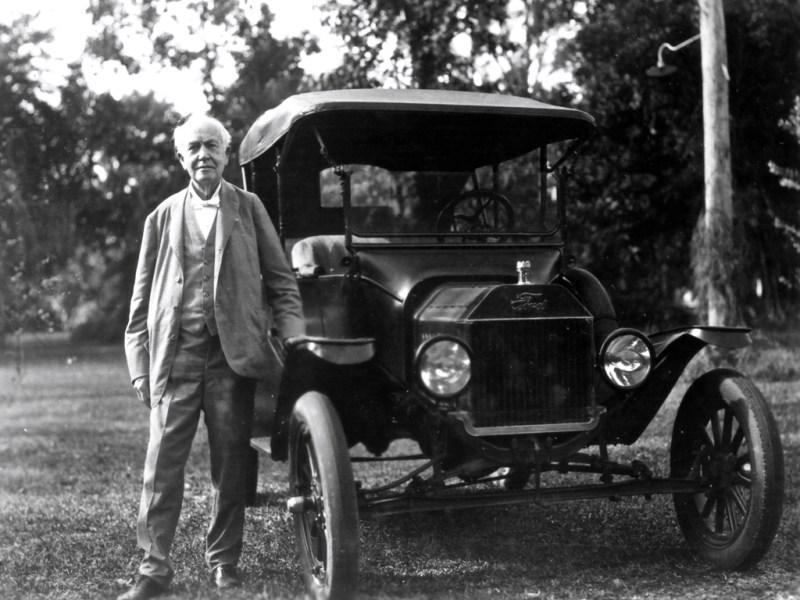 Thomas Edison with Model T
