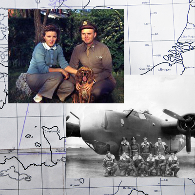 Photo collage of B-24 bomber pilot and his wife Lucille Maris.