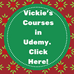 Graphic promoting Vickie Maris Udemy courses