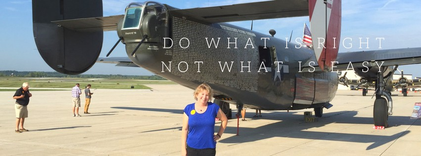 Photo of Vickie Maris in front of the B-24, Witchcraft