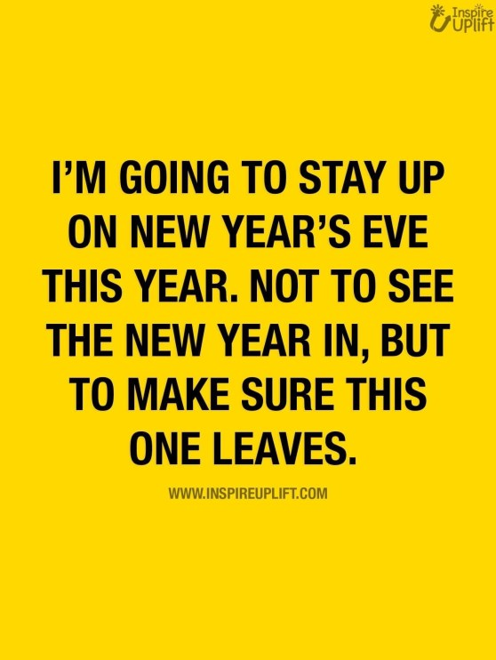 I read a meme that said: I am going to stay up on New Year's Eve this year. Not to see the New Year in, but to make sure this one leaves!