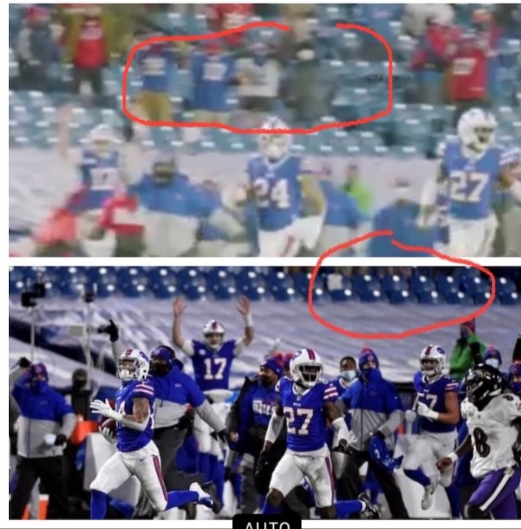 Attending Buffalo Bills Game During the Pandemic- Almost Famous - Alex photo of TV screen shot-Almost Famous- Upper photo shows the location of great seats and lower photo shows their legs